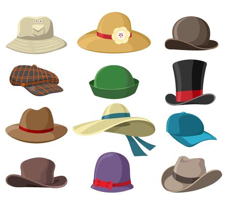 Illustration for Hats and headwears. Hat images isolated on white background, headgear vector illustrations for man and woman, cap headgears for ladies and gentlemen - Royalty Free Image
