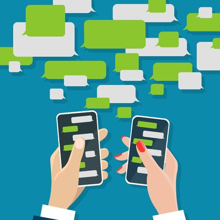 Illustration pour Chating concept.  messaging chat on mobile screens in male and female hands, cell chats messages dialog with text chatting boxes vector illustration - image libre de droit