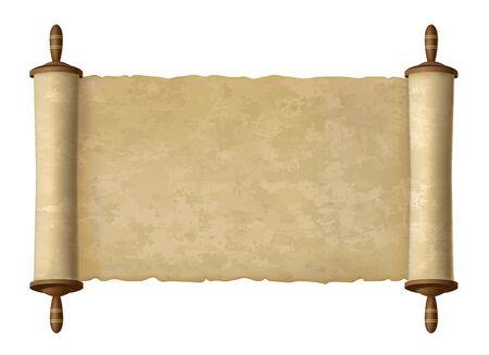 Illustration pour Antique papyrus scroll. Vector paper scroll for ages wisdom vector illustration, traditional ancient text old map design for jewish torah background - image libre de droit