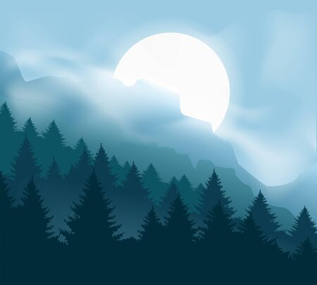 Illustration pour Pines mountains with mist. Calming forest landscape with blue moon light and fog, outdoor camp cliff vector graphic, misty trees and foggy hills panoramic horizon - image libre de droit