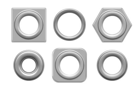 Illustration pour Eyelets and grommets. Circular and square metal eyelet set vector illustration for tag design and fashion denim holes rivets isolated on white background - image libre de droit