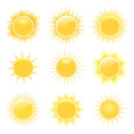 Illustration for Realistic heating suns. Glare happy weather sun icons, circle cartoon burn sunny elements isolated on white background - Royalty Free Image
