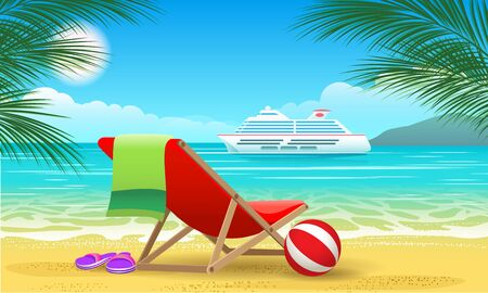 Illustration pour Cruise vessel and beach. Summer luxury vacation landscape with beautiful ocean ship for tropic travel vector promo poster - image libre de droit