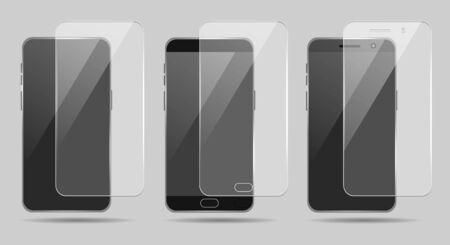 Illustration pour Smartphone screenprotectors. Smart phone screen protector glass set, cellphone clear display guard vector illustration - image libre de droit