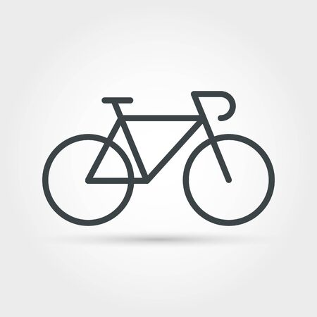 Illustration pour Bike minimal outline icon. Isolated vector bicycle object, journey biking sign, leisure race symbol, healthy fitness and adventure summer cycle emblem - image libre de droit