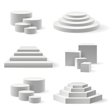 Circular podium and stairs pedestal. Rounded base or 3d speak platform set, white interior stage or sport winner and party event arena on white, circle presentation empty showroom block
