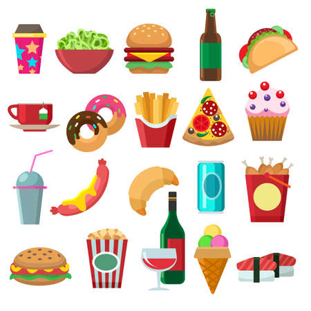 Illustration for Fast food flat icons set. Cartoon pictures of fries, snacks and hamburgers, designer dessert icons for menu, vector illustration of elements of lunch isolated on white background - Royalty Free Image