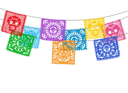 Illustration pour Papel picado. Is mexican day of the death cuting paper flags for street garland buntings, bunting ornamental lines - image libre de droit