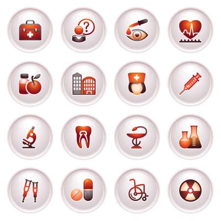 Medicine  icons set 2  Black red series