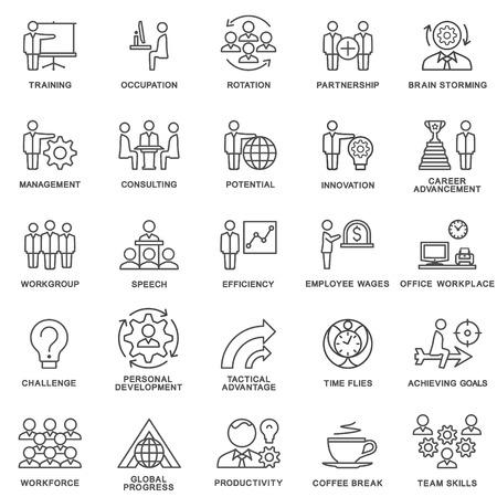 Ilustración de Icons corporate governance, business training. Teamwork and advice. The thin contour lines. - Imagen libre de derechos