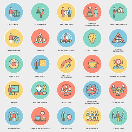 Illustration pour Icons corporate governance, business training. Teamwork and advice. The thin contour lines with color fills. - image libre de droit