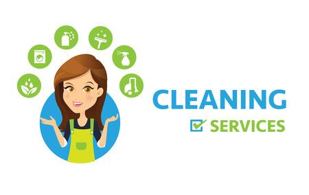 Ilustración de Cleaning service logo. Women Maid vector and cleaning services icon. - Imagen libre de derechos