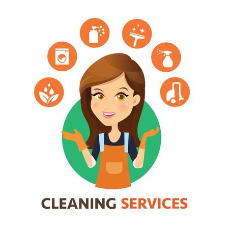 Illustration pour Cleaning service logo. Women Maid vector and cleaning services icon. - image libre de droit