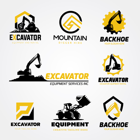 Ilustración de Excavator and backhoe logo collection - Imagen libre de derechos