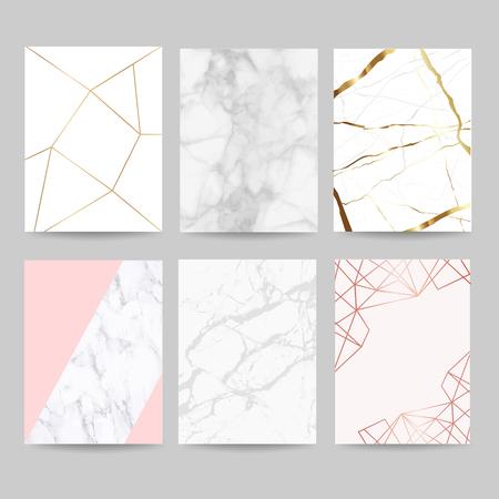Ilustración de Luxury wedding invitation cards collection with marble background cover and gold geometric shape pattern vector - Imagen libre de derechos