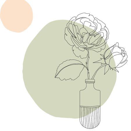 Illustration pour Flower icon Line art. Abstract minimal flora design for cover, prints, fabric and wallpaper. Vector illustration - image libre de droit