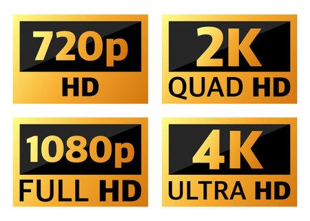 4k ultrahd, 2k quadhd, 1080 fullhd and 720 hd dimensions of video