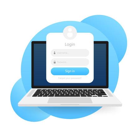 Illustration pour Login form icon. Login form page. Vector illustration - image libre de droit