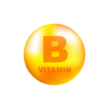 Illustration pour Vitamin B with realistic drop on gray background. Particles of vitamins in the middle. Vector illustration. - image libre de droit