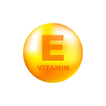 Illustration pour Vitamin E with realistic drop on gray background. Particles of vitamins in the middle. Vector illustration. - image libre de droit
