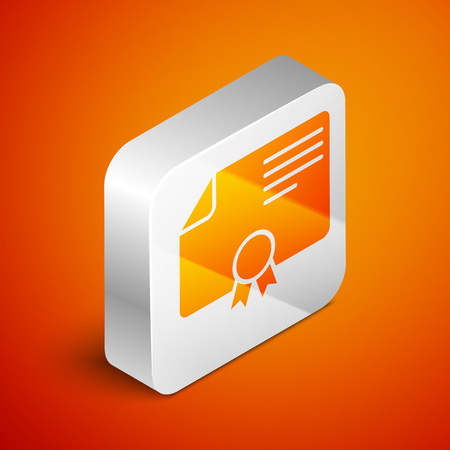 Isometric Certificate template icon isolated on orange background. Achievement, award, degree, grant, diploma concepts. Business success certificate. Silver square button. Vector Illustration