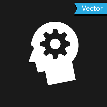 Illustration for White Human head with gear inside icon isolated on black background. Artificial intelligence. Thinking brain sign. Symbol work of brain. Vector Illustration - Royalty Free Image
