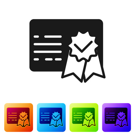 Black Certificate template icon isolated on white background. Achievement, award, degree, grant, diploma concepts. Business success certificate. Set icon in color square buttons. Vector Illustration