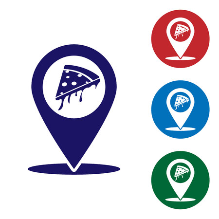 Blue Map pointer with fast food slice pizza icon isolated on