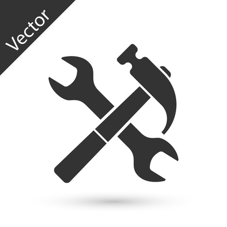 Illustration for Grey Crossed hammer and wrench icon isolated on white background. Hardware tools.  Vector Illustration - Royalty Free Image