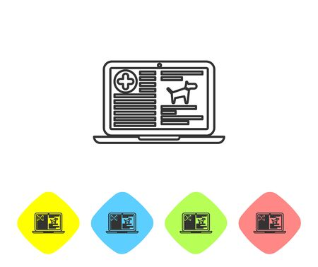Grey Medical clinical record dog on laptop line icon on white background. Health insurance form. Prescription, medical check marks report. Set icon in color rhombus buttons. Vector Illustration