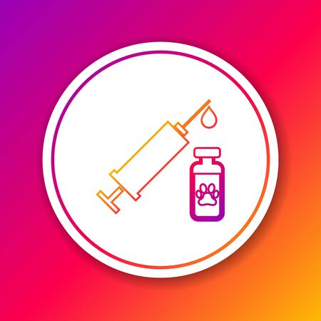 Color Syringe with pet vaccine line icon isolated on color background. Dog or cat paw print. Circle white button. Vector Illustration