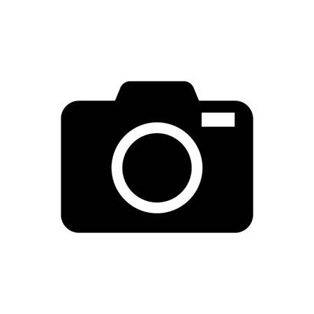 Illustration for Black Photo camera icon isolated on white background. Foto camera icon. Vector Illustration - Royalty Free Image