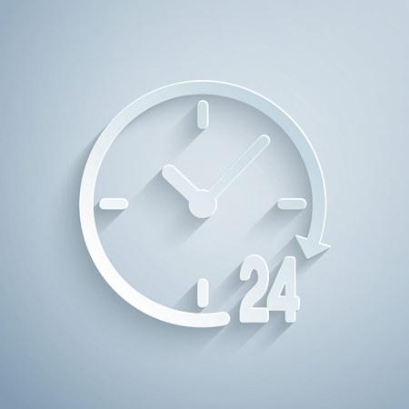 Ilustración de Paper cut Clock 24 hours icon isolated on grey background. All day cyclic icon. 24 hours service symbol. Paper art style. Vector Illustration - Imagen libre de derechos