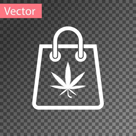 White Shopping paper bag of medical marijuana or cannabis leaf icon isolated on transparent background. Buying cannabis. Hemp symbol. Vector Illustration