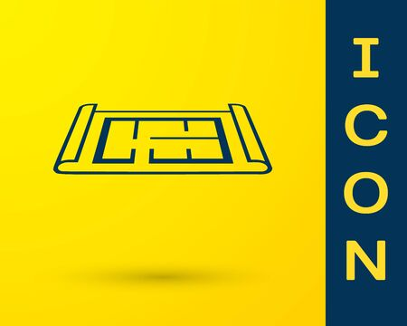 Illustration for Blue House plan icon isolated on yellow background. Vector Illustration - Royalty Free Image