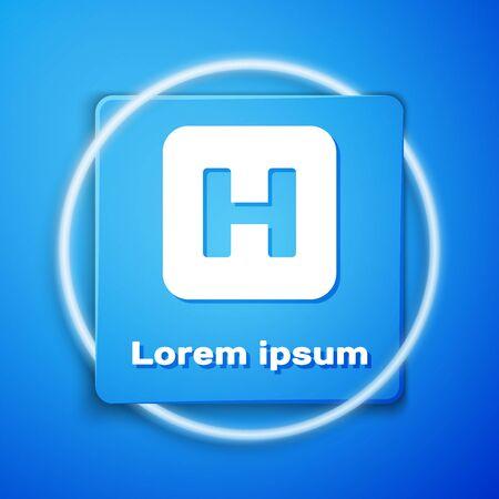Illustration pour White Hospital sign icon isolated on blue background. Blue square button. Vector Illustration - image libre de droit