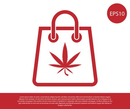 Red Shopping paper bag of medical marijuana or cannabis leaf icon isolated on white background. Buying cannabis. Hemp symbol. Vector Illustration