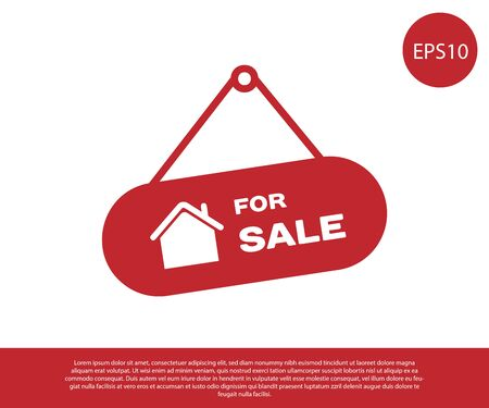 Illustration for Red Hanging sign with text For Sale icon isolated on white background. Signboard with text For Sale. Vector Illustration - Royalty Free Image