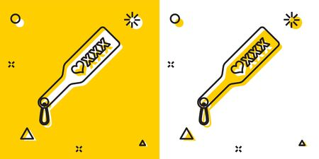 Black Spanking paddle icon isolated on yellow and white background. Fetish accessory. Sex toy for adult. Random dynamic shapes. Vector Illustration