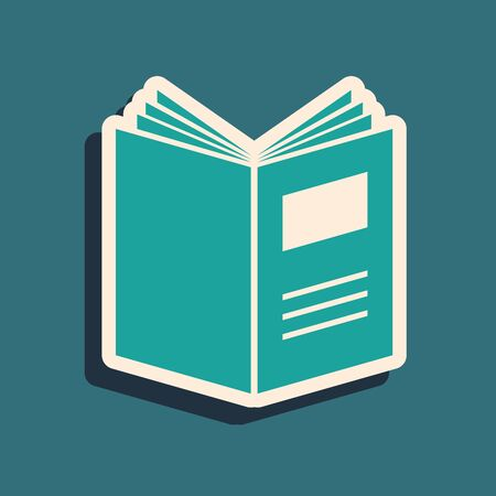Illustration pour Green Open book icon isolated on blue background. Long shadow style. Vector Illustration - image libre de droit