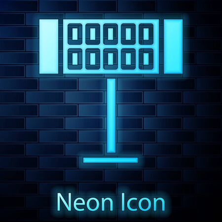 Glowing neon Electric heater icon