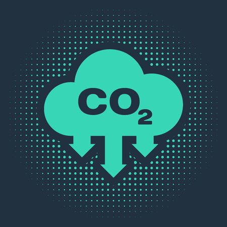 Illustration pour Green CO2 emissions in cloud icon isolated on blue background. Carbon dioxide formula symbol, smog pollution concept, environment concept. Abstract circle random dots. Vector Illustration - image libre de droit