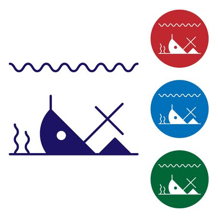 Illustration pour Blue Sunken ship at the bottom of the sea icon isolated on white background. Set color icons in circle buttons. Vector Illustration - image libre de droit