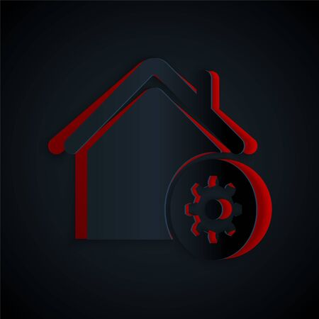Paper Cut Smart Home Settings Icon Isolated On Black Background Remote Control Paper Art Style Vector Illustration Royalty Free Vector Graphics