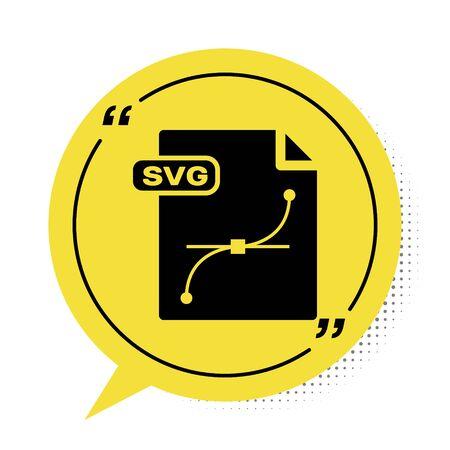 Illustration pour Black SVG file document. Download svg button icon isolated on white background. SVG file symbol. Yellow speech bubble symbol. Vector Illustration - image libre de droit