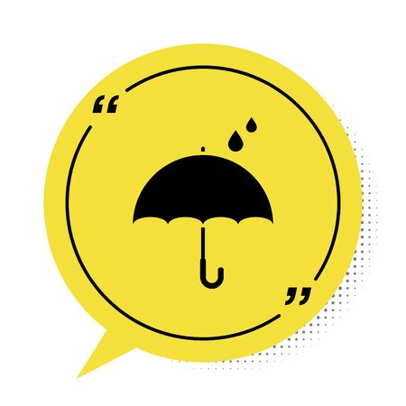 Illustration pour Black Umbrella and rain drops icon isolated on white background. Waterproof icon. Protection, safety, security concept. Water resistant symbol. Yellow speech bubble symbol. Vector Illustration - image libre de droit