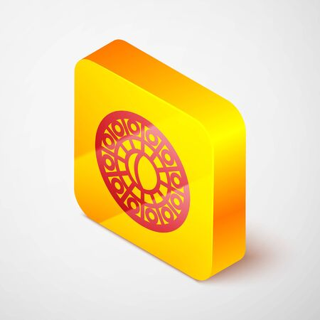 Isometric Line Astrology Horoscope Circle With Zodiac Icon Isolated On Grey Background Yellow Square Button Vector Illustration Royalty Free Vector Graphics
