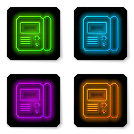Illustration pour Glowing neon line House intercom system icon isolated on white background. Black square button. Vector Illustration - image libre de droit