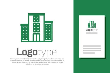 Illustration for Green line Medical hospital building with cross icon isolated on white background. Medical center. Health care. - Royalty Free Image