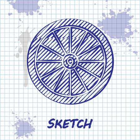 Illustration for Sketch line Car wheel icon isolated on white background. Vector Illustration - Royalty Free Image